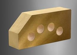 Облицовочный кирпич Литос стандартный пустотелый гладкий угловой желтый