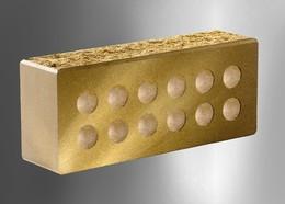 Облицовочный кирпич Литос стандартный пустотелый колотый с фаской желтый